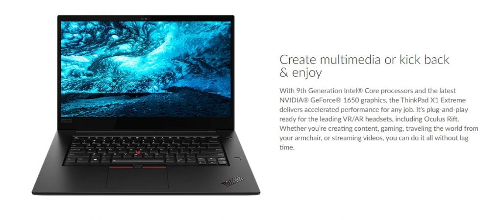 Lenovo ThinkPad X1 Extreme (Gen 2) вид спереди