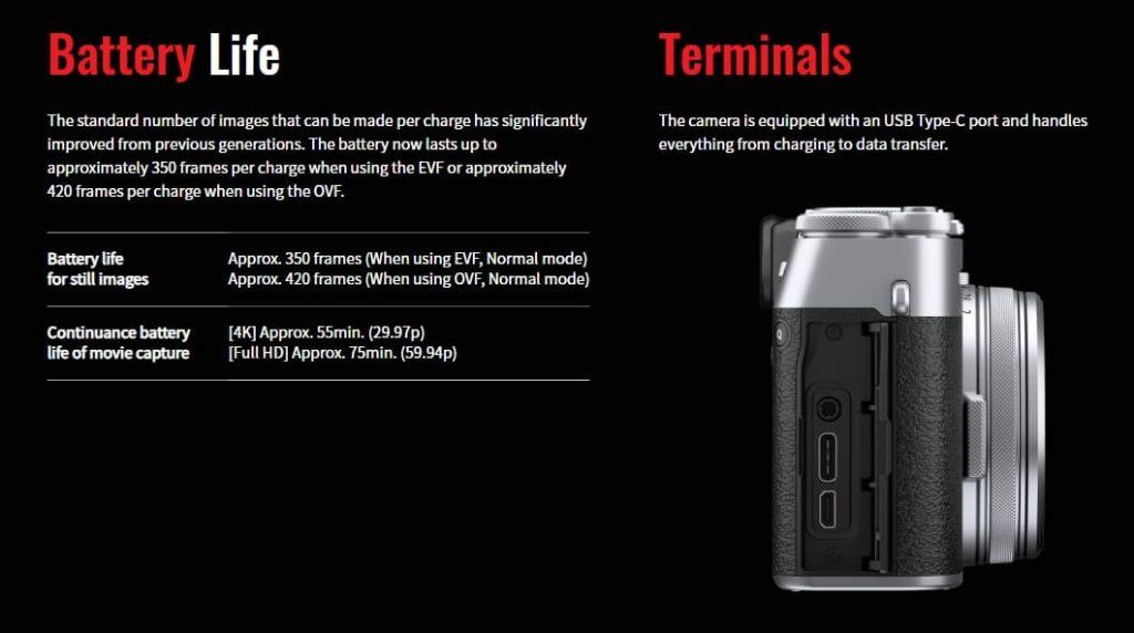 Fujifilm X100V батарея